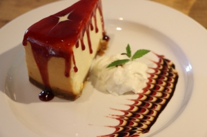 Strawberry Cheesecake at Vito's by the Park located at 26 Trumbull Street in Hartford, CT 06103